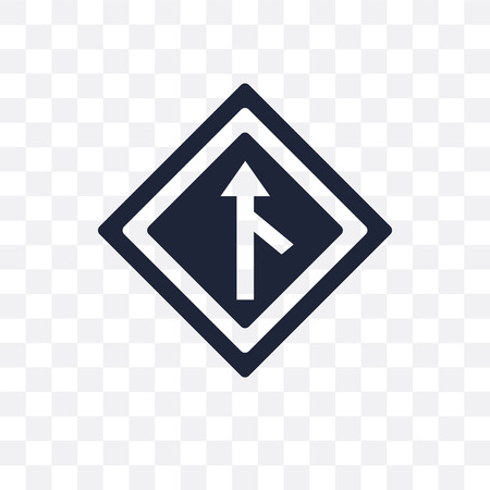 Merging sign transparent icon. Merging sign symbol design from Traffic signs collection. Simple element vector illustration on transparent background.