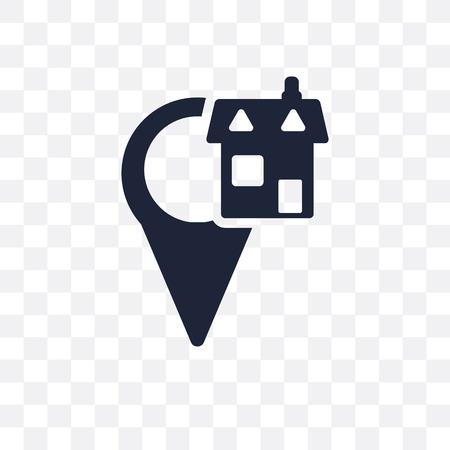 Heimatstandort transparentes Symbol. Home Location Symbol Design aus der Sammlung von Karten und Standorten. Einfache Elementvektorillustration auf transparentem Hintergrund. Vektorgrafik