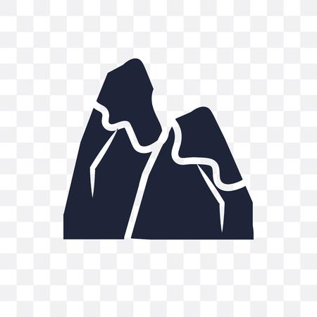 icône transparente de montagne enneigée. conception de symbole de montagne enneigée de la collection d'hiver. Illustration vectorielle élément simple sur fond transparent.
