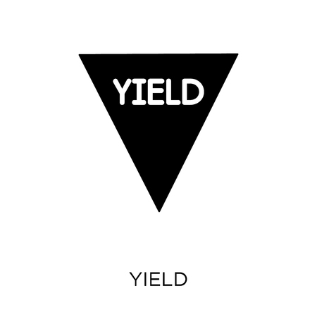 Yield sign icon. Yield sign symbol design from Traffic signs collection. Simple element vector illustration on white background.