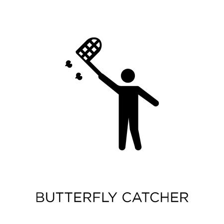 Schmetterlingsfänger-Symbol und Symboldesign aus der Aktivitäts- und Hobbysammlung. Einfache Elementvektorillustration auf weißem Hintergrund.