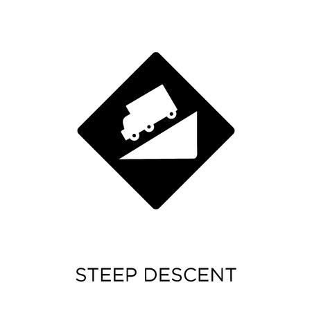 icône de signe de descente raide. conception de symbole de signe de descente raide de la collection de panneaux de signalisation. Illustration vectorielle élément simple sur fond blanc.