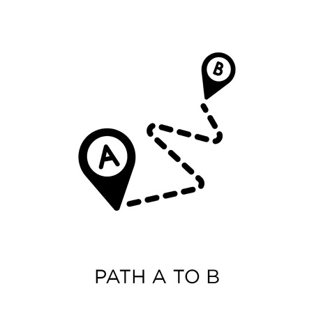 Path A to B icon. Path A to B symbol design from Maps and locations collection. Simple element vector illustration on white background.
