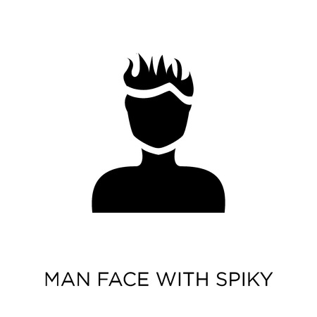 Man face with spiky hair icon. Man face with spiky hair symbol design from People collection. Simple element vector illustration on white background.