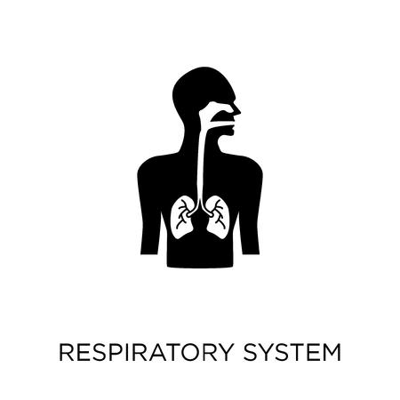 Icono del sistema respiratorio. Diseño de símbolo de sistema respiratorio de colección de partes del cuerpo humano.