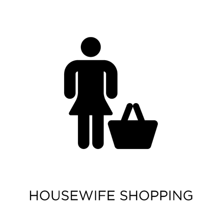 Housewife shopping icon. Housewife shopping symbol design from People collection. Simple element vector illustration on white background.