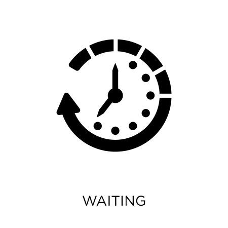 Icona in attesa. Disegno di simbolo in attesa da collezione di gestione del tempo.