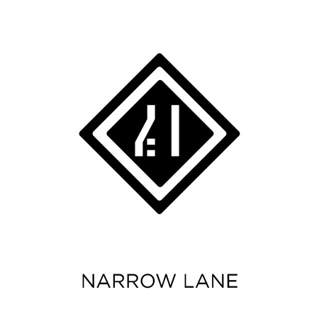 Narrow lane sign icon. Narrow lane sign symbol design from Traffic signs collection. Simple element vector illustration on white background. Illustration