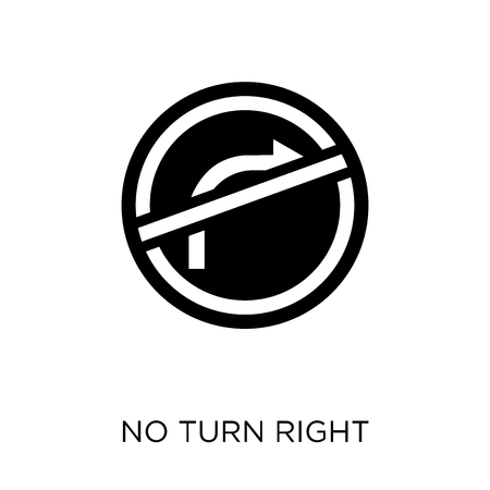 No turn right sign icon. No turn right sign symbol design from Traffic signs collection. Simple element vector illustration on white background. Illustration
