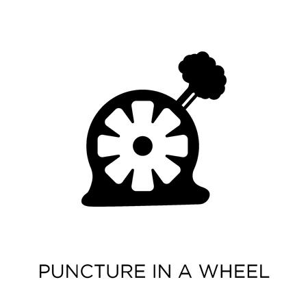 Punctie in een wielpictogram. Punctie in een wiel symbool ontwerp uit verzekering collectie.