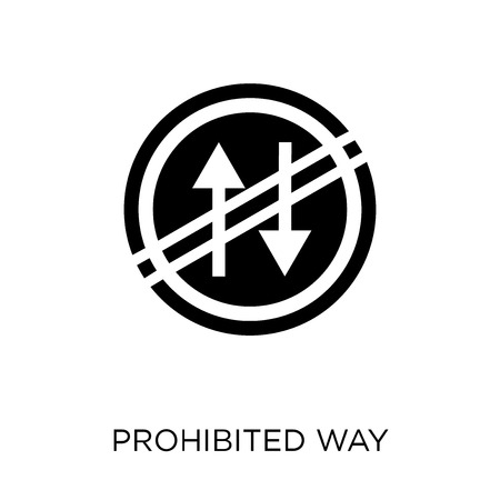 Prohibited way sign icon. Prohibited way sign symbol design from Traffic signs collection. Simple element vector illustration on white background.