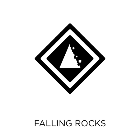 Falling rocks sign icon. Falling rocks sign symbol design from Traffic signs collection. Simple element vector illustration on white background. Иллюстрация