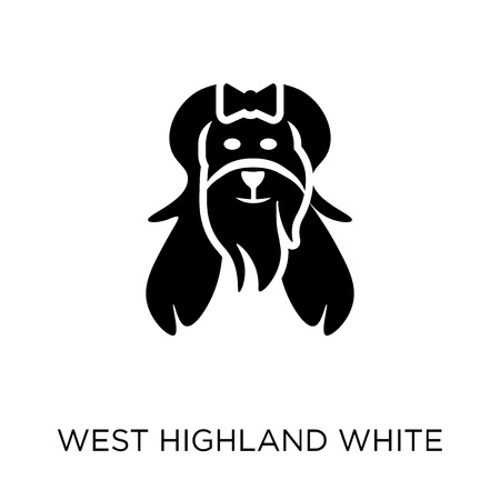 West Highland White Terrier dog icon. West Highland White Terrier dog symbol design from Dogs collection. Simple element vector illustration on white background. Illustration