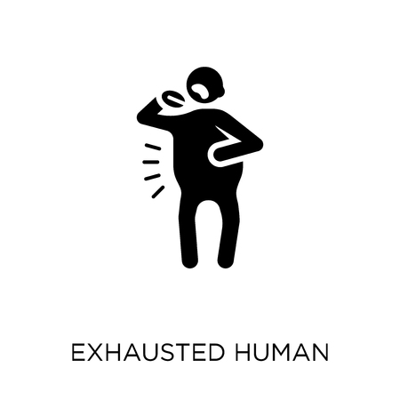 exhausted human icon. exhausted human symbol design from Feelings collection. Simple element vector illustration on white background. Ilustración de vector