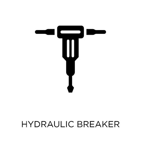 Hydraulic breaker icon. Hydraulic breaker symbol design from Construction collection. Simple element vector illustration on white background.  イラスト・ベクター素材