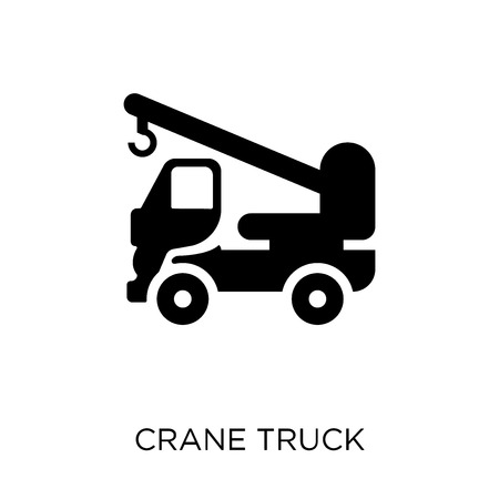 Crane truck icon. Crane truck symbol design from Construction collection. Simple element vector illustration on white background. Vector Illustration