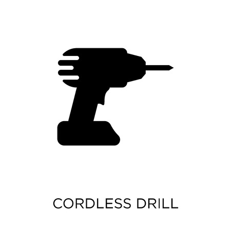 Cordless drill icon. Cordless drill symbol design from Construction collection. Simple element vector illustration on white background. 일러스트