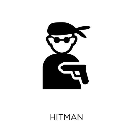 icona del sicario. disegno di simbolo di hitman da collezione Cinema. Illustrazione vettoriale semplice elemento su sfondo bianco.