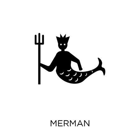 Merman icon. Merman symbol design from Fairy tale collection. Simple element vector illustration on white background. Illustration