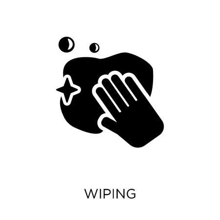 Wischen-Symbol. Abwischen des Symboldesigns aus der Reinigungskollektion. Einfache Elementvektorillustration auf weißem Hintergrund.