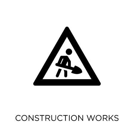 Construction works icon. Construction works symbol design from Construction collection. Simple element vector illustration on white background.