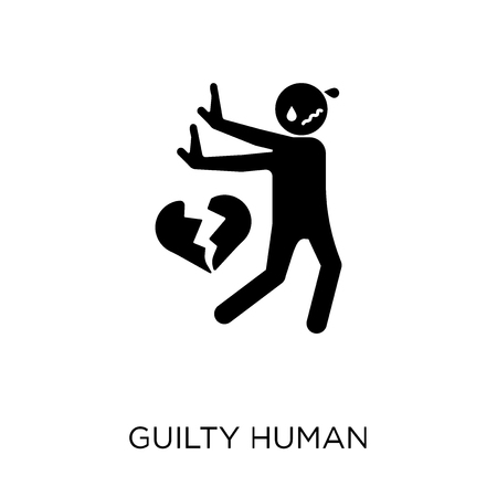 icône humaine coupable. conception de symbole humain coupable de la collection Feelings. Illustration vectorielle élément simple sur fond blanc. Vecteurs