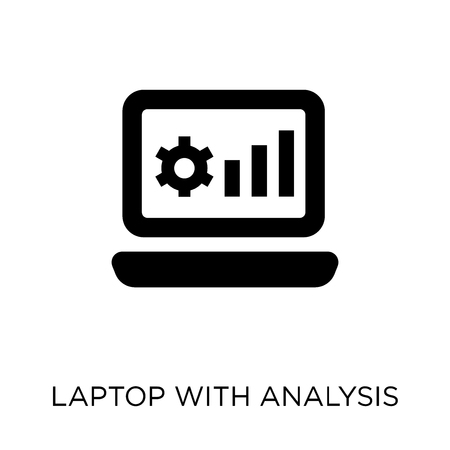 Laptop with Analysis icon. Laptop with Analysis symbol design from Analytics collection. Simple element vector illustration on white background.