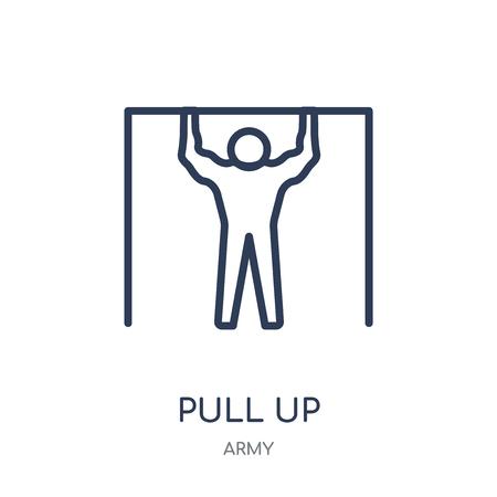 Icona di sollevamento. Tirare su il disegno di simbolo lineare dall'insieme dell'esercito.