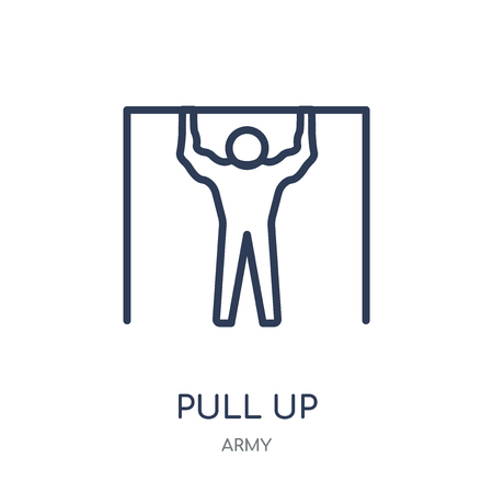 Pull up icon. Pull up linear symbol design from Army collection.