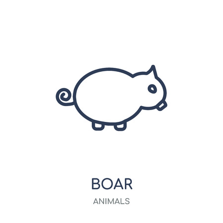 Boar icon. Boar linear symbol design from Animals collection. Simple outline element vector illustration on white background. Illustration