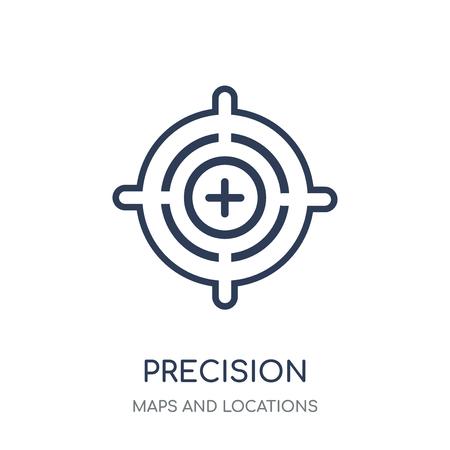 Icône de précision. Conception de symbole linéaire de précision de la collection de cartes et emplacements. Illustration vectorielle de contour simple élément sur fond blanc.