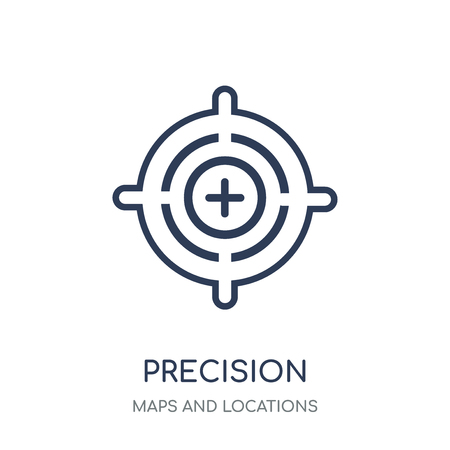 Precision icon. Precision linear symbol design from Maps and locations collection. Simple outline element vector illustration on white background. Ilustração