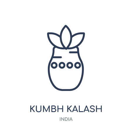 Kumbh kalash icon. Kumbh kalash linear symbol design from India collection. Simple outline element vector illustration on white background.