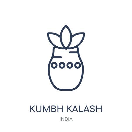 Kumbh kalash icon. Kumbh kalash linear symbol design from India collection. Simple outline element vector illustration on white background.