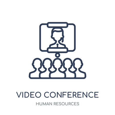 Video conference icon. Video conference linear symbol design from Human resources collection.