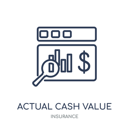Actual Cash Value icon. Actual Cash Value linear symbol design from Insurance collection.