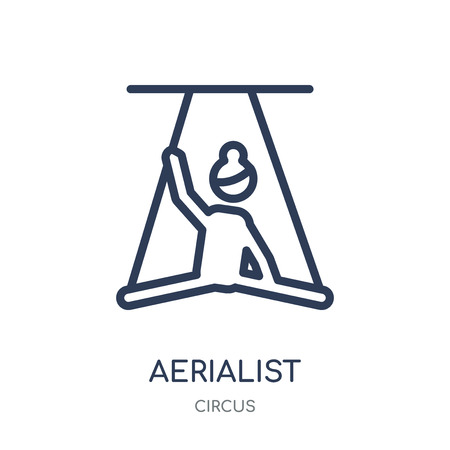 Aerialist icon. Aerialist linear symbol design from Circus collection. Simple outline element vector illustration on white background. Illustration