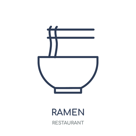 Ramen icon. Ramen linear symbol design from Restaurant collection. Simple outline element vector illustration on white background.