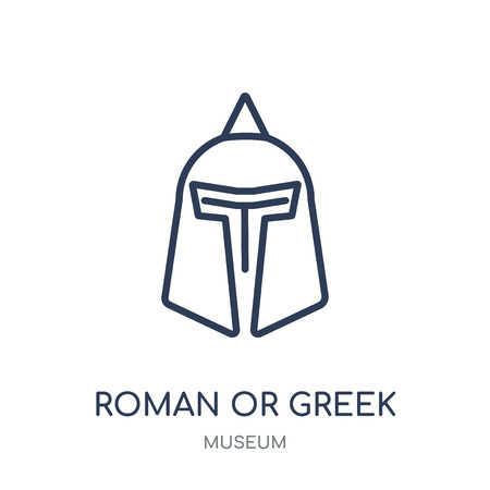 roman or greek Helmet icon. roman or greek Helmet linear symbol design from Museum collection. Simple outline element vector illustration on white background.