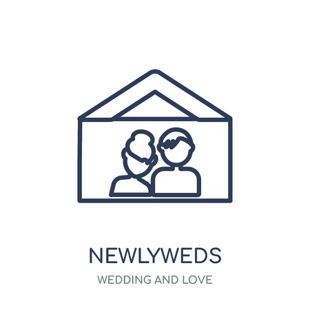 Newlyweds icon. Newlyweds linear symbol design from Wedding and love collection. Simple outline element vector illustration on white background.