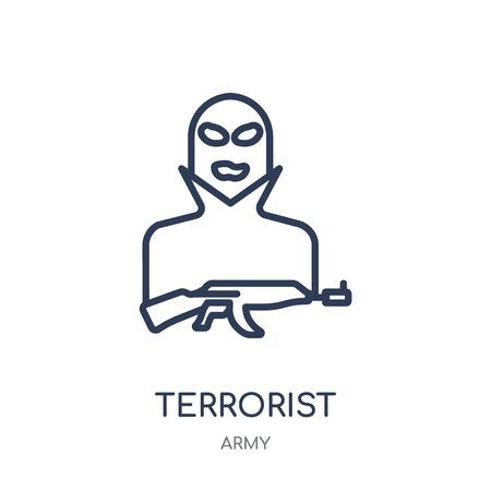 Terrorist icon. Terrorist linear symbol design from Army collection.