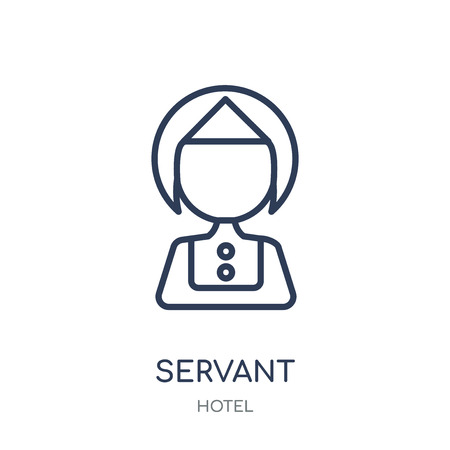 Dienaar pictogram. Dienaar lineaire symbool ontwerp uit Hotel collectie. Eenvoudige omtrek element vectorillustratie op witte achtergrond. Vector Illustratie