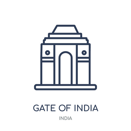 Gate of india icon. Gate of india linear symbol design from India collection. Simple outline element vector illustration on white background.