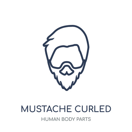 Mustache curled tip variant icon. Mustache curled tip variant linear symbol design from Human Body Parts collection. Çizim