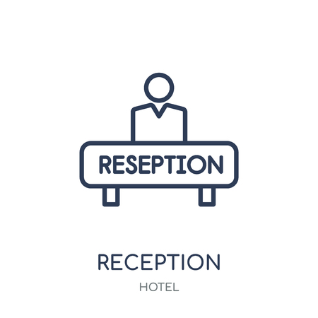 Reception icon. Reception linear symbol design from Hotel collection. Simple outline element vector illustration on white background.