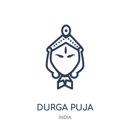 durga puja icon. durga puja linear symbol design from India collection. Simple outline element vector illustration on white background. Illustration