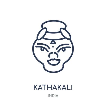 Kathakali icon. Kathakali linear symbol design from India collection. Simple outline element vector illustration on white background. Illustration