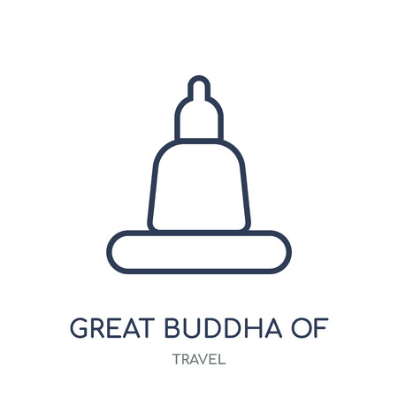 Great buddha of thailand icon. Great buddha of thailand linear symbol design from Travel collection. Simple outline element vector illustration on white background. Иллюстрация