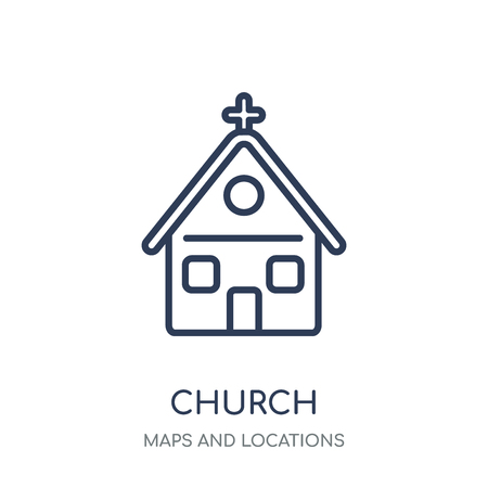 Church Icon icon. Church Icon linear symbol design from Maps and locations collection. Simple outline element vector illustration on white background. Stock fotó - 111820806
