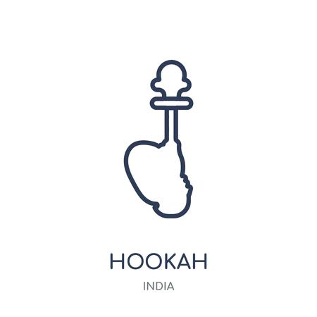 Hookah icon. Hookah linear symbol design from India collection. Simple outline element vector illustration on white background. Ilustração
